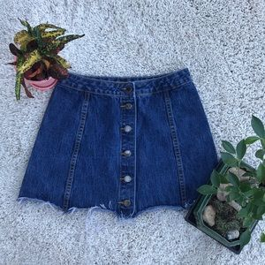 Topshop button front denim jean mini skirt
